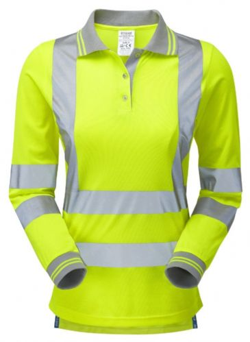 Pulsar P702 Ladies Long Sleeve Polo Shirt (High Vis Yellow)
